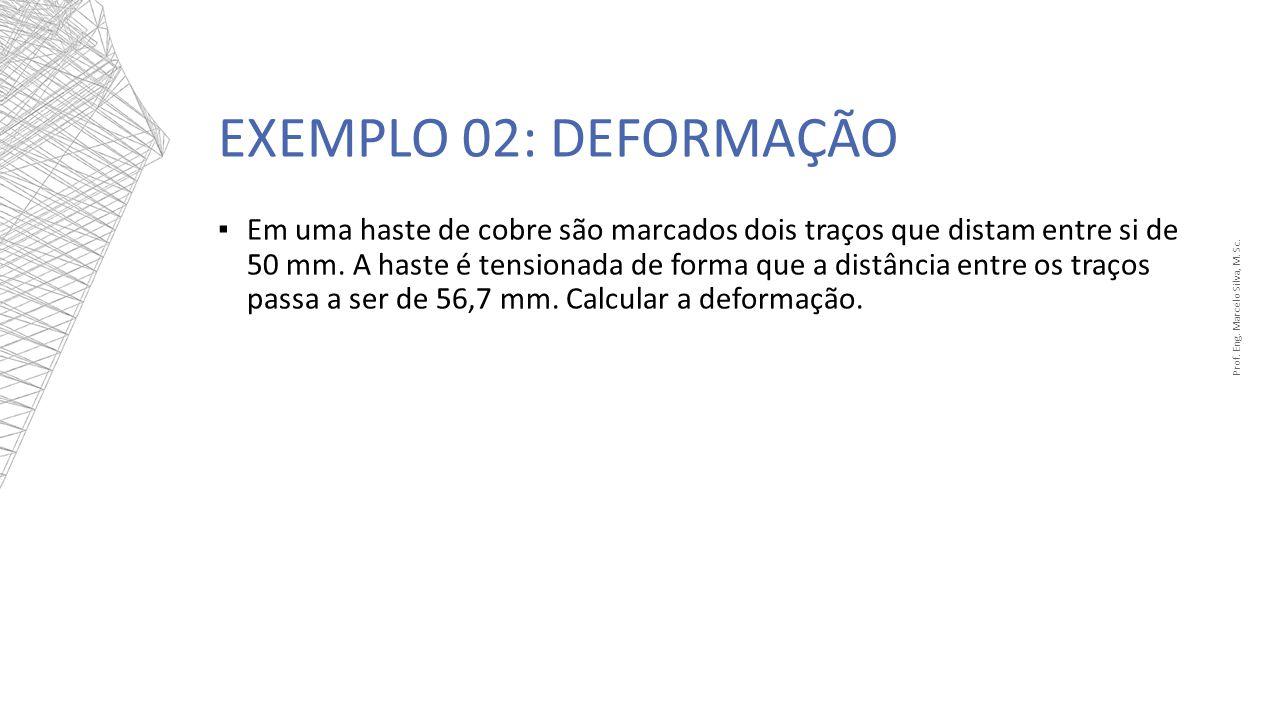 EXEMPLO 02: DEFORMAÇÃO Prof. Eng. Marcelo Silva, M. Sc. Em uma haste de cobre são marcados dois traços que distam entre si de 50 mm. A haste é tension