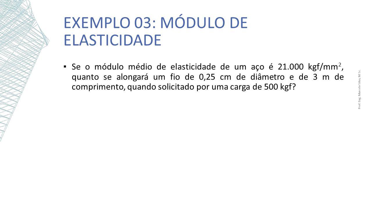EXEMPLO 03: MÓDULO DE ELASTICIDADE Prof. Eng. Marcelo Silva, M. Sc. Se o módulo médio de elasticidade de um aço é 21.000 kgf/mm 2, quanto se alongará