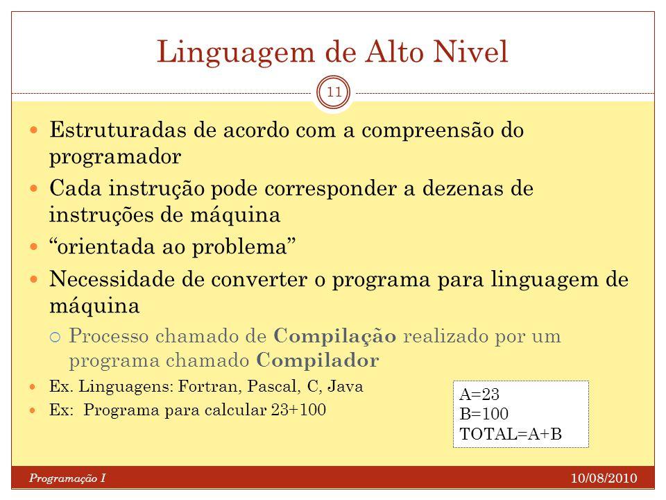Linguagem de Alto Nivel 10/08/2010 Programação I 11 Estruturadas de acordo com a compreensão do programador Cada instrução pode corresponder a dezenas