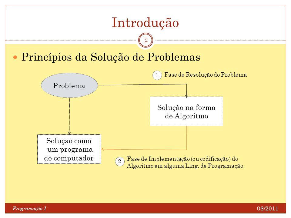 Introdução Programação I 2 Princípios da Solução de Problemas Problema Solução na forma de Algoritmo Solução como um programa de computador Fase de Re