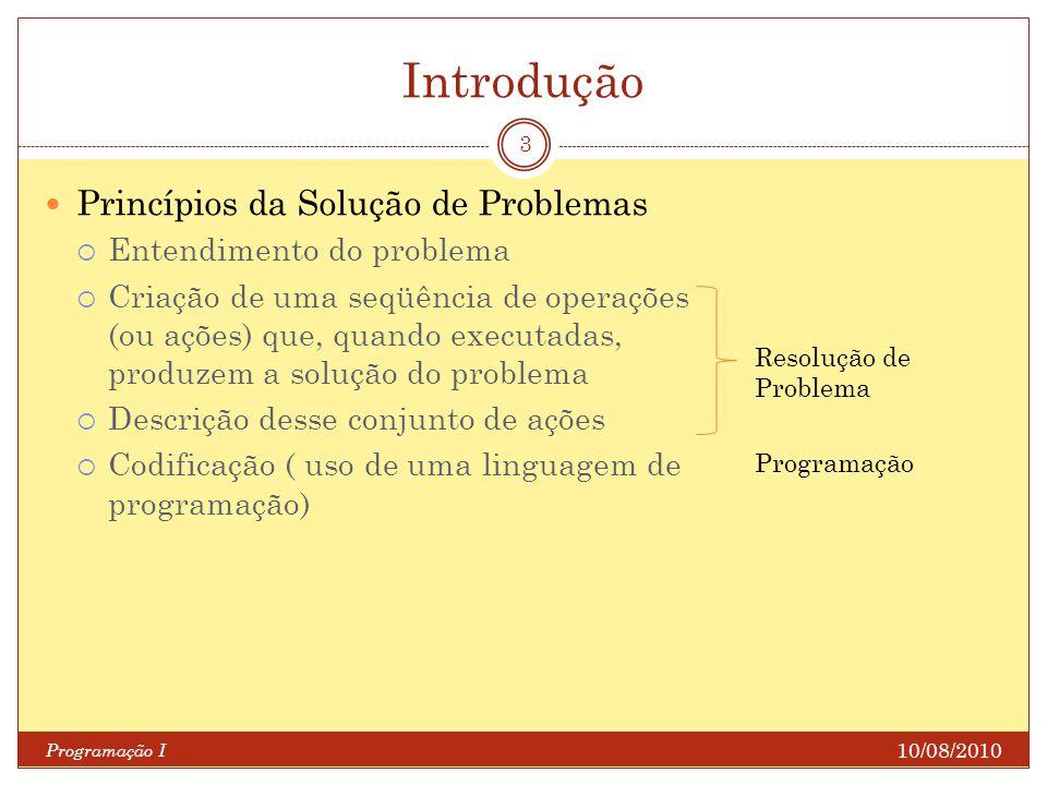 Introdução Programação I 3 Princípios da Solução de Problemas Entendimento do problema Criação de uma seqüência de operações (ou ações) que, quando ex