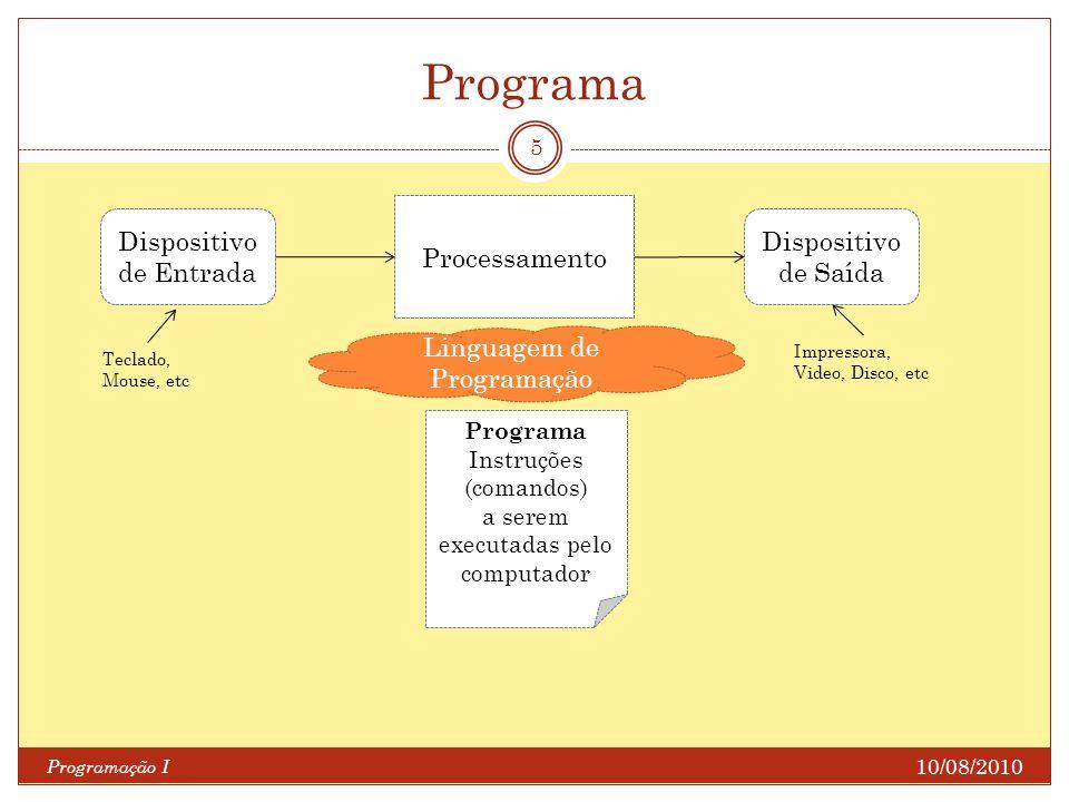 Programa 10/08/2010 Programação I 5 Dispositivo de Entrada Processamento Dispositivo de Saída Linguagem de Programação Programa Instruções (comandos)