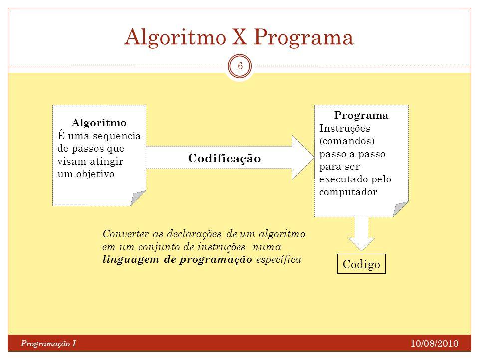 Algoritmo X Programa 10/08/2010 Programação I 6 Algoritmo É uma sequencia de passos que visam atingir um objetivo Programa Instruções (comandos) passo