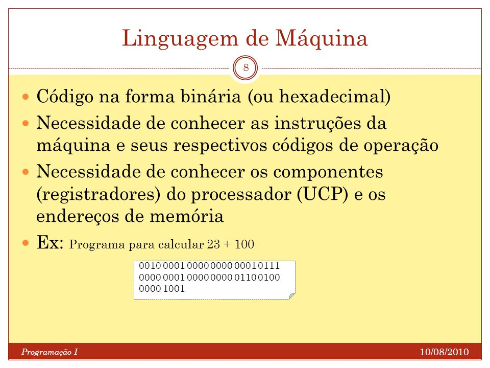 10/08/2010 Programação I 8 Código na forma binária (ou hexadecimal) Necessidade de conhecer as instruções da máquina e seus respectivos códigos de ope