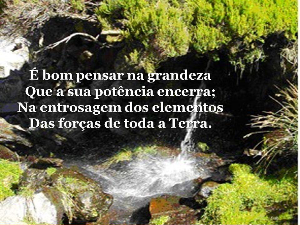 Quando passes meditando No cimo da ribanceira, Repara na majestade Que esplende na cachoeira.