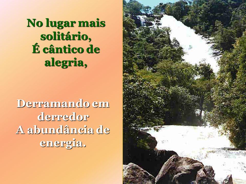 É bom pensar na grandeza Que a sua potência encerra; Na entrosagem dos elementos Das forças de toda a Terra.