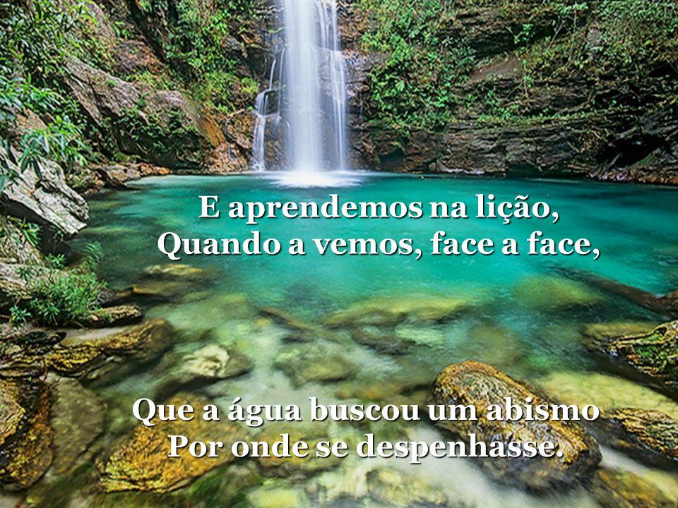 E aprendemos na lição, Quando a vemos, face a face, Que a água buscou um abismo Por onde se despenhasse.