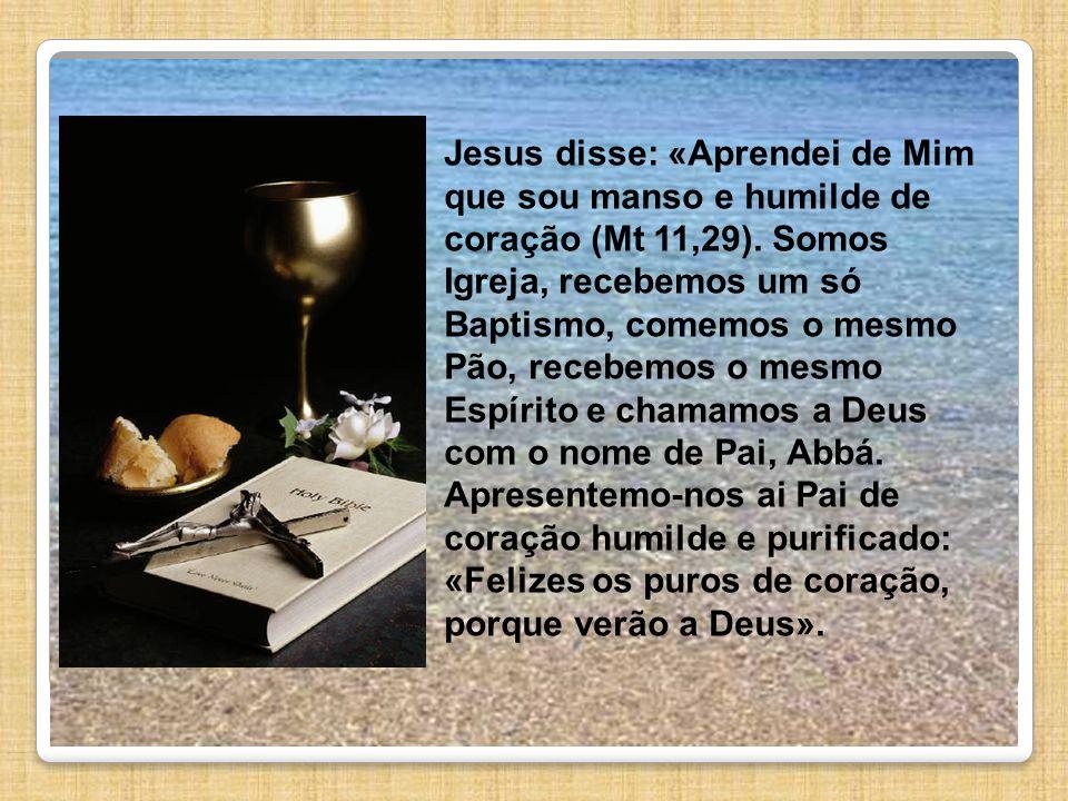 Jesus disse: «Aprendei de Mim que sou manso e humilde de coração (Mt 11,29). Somos Igreja, recebemos um só Baptismo, comemos o mesmo Pão, recebemos o
