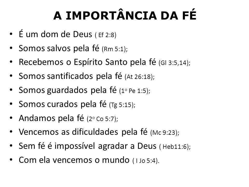 A IMPORTÂNCIA DA FÉ É um dom de Deus ( Ef 2:8) Somos salvos pela fé (Rm 5:1); Recebemos o Espírito Santo pela fé (Gl 3:5,14); Somos santificados pela
