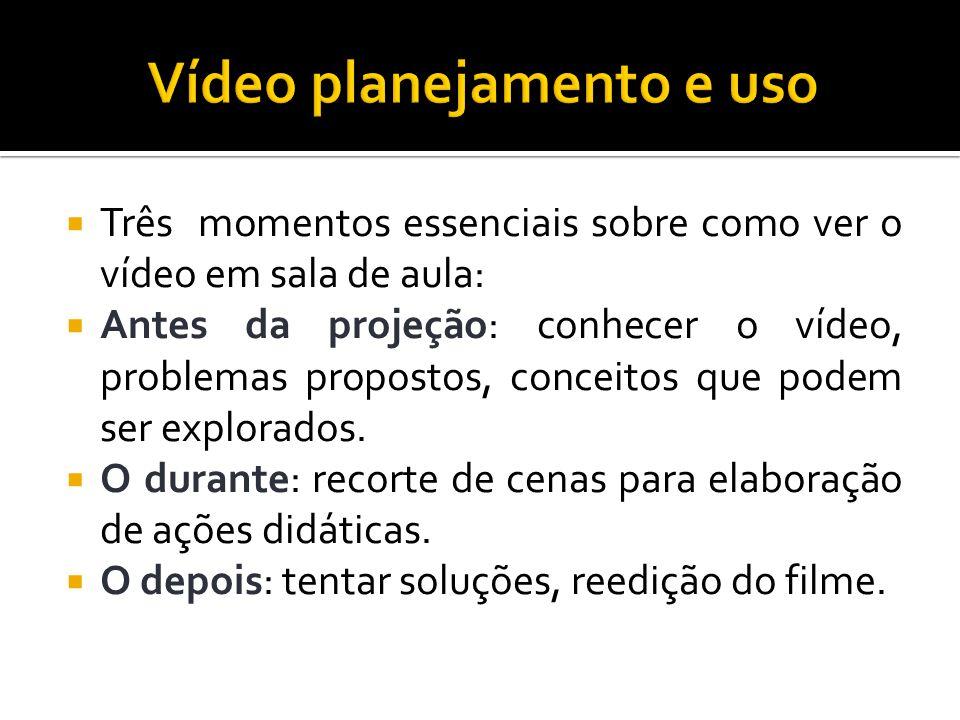 Três momentos essenciais sobre como ver o vídeo em sala de aula: Antes da projeção: conhecer o vídeo, problemas propostos, conceitos que podem ser exp