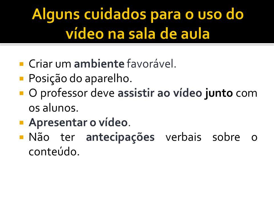 Criar um ambiente favorável. Posição do aparelho. O professor deve assistir ao vídeo junto com os alunos. Apresentar o vídeo. Não ter antecipações ver