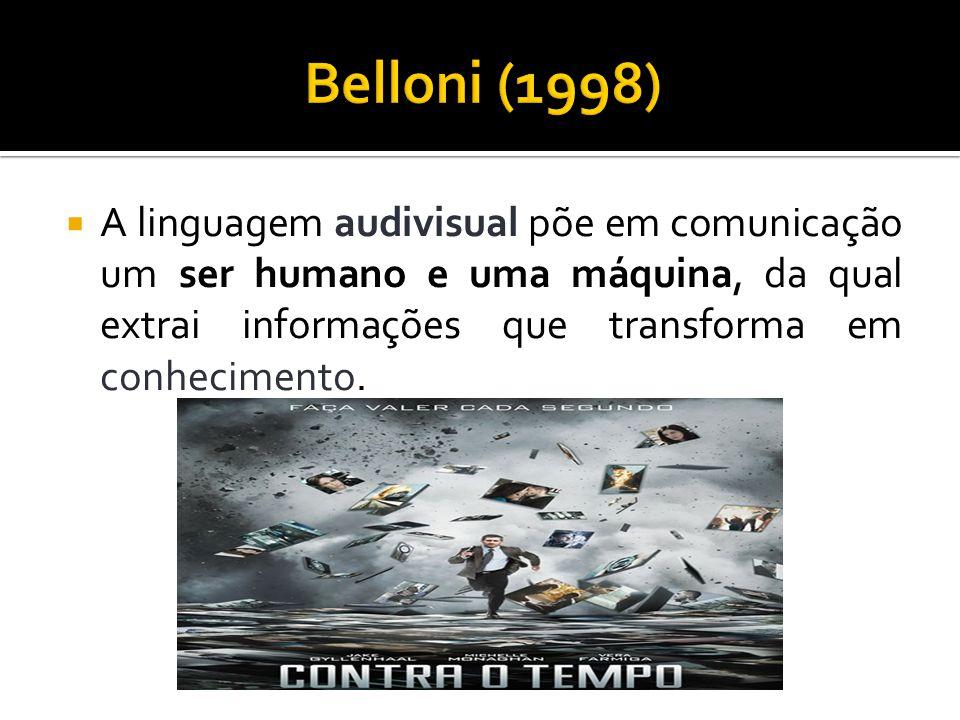 A linguagem audivisual põe em comunicação um ser humano e uma máquina, da qual extrai informações que transforma em conhecimento.