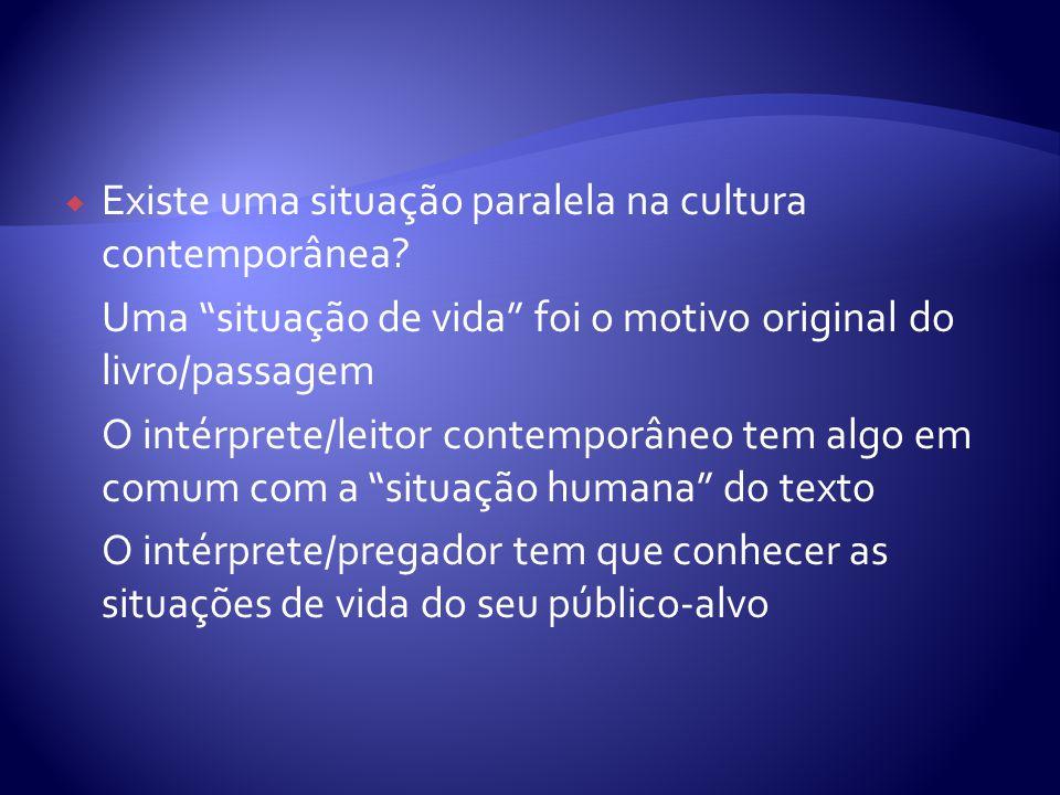 Existe uma situação paralela na cultura contemporânea? Uma situação de vida foi o motivo original do livro/passagem O intérprete/leitor contemporâneo