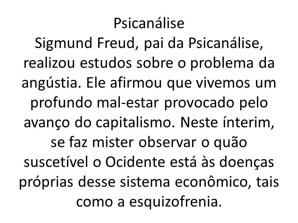 Psicanálise Sigmund Freud, pai da Psicanálise, realizou estudos sobre o problema da angústia. Ele afirmou que vivemos um profundo mal-estar provocado