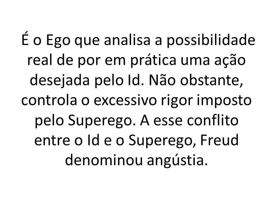 É o Ego que analisa a possibilidade real de por em prática uma ação desejada pelo Id. Não obstante, controla o excessivo rigor imposto pelo Superego.
