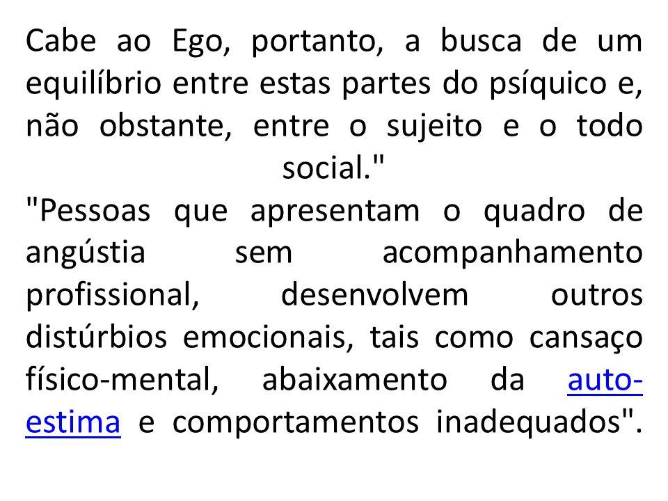 Cabe ao Ego, portanto, a busca de um equilíbrio entre estas partes do psíquico e, não obstante, entre o sujeito e o todo social.