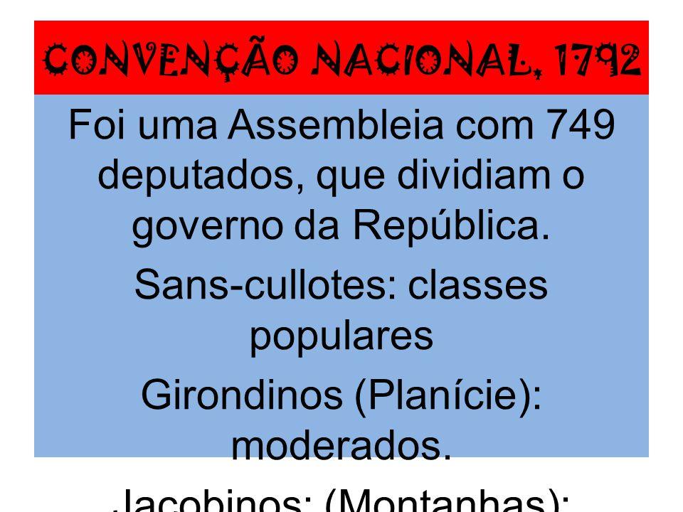 Constituição, 1793 Democrática; Voto universal masculino; Fim da escravidão; Assistência médica; Escola pública.