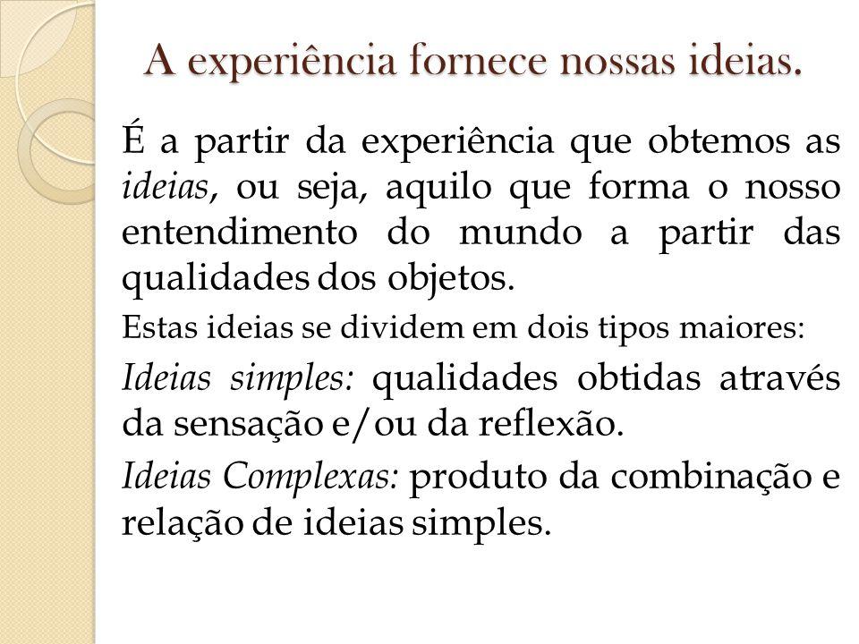 A experiência fornece nossas ideias. É a partir da experiência que obtemos as ideias, ou seja, aquilo que forma o nosso entendimento do mundo a partir