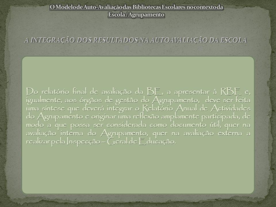 Do relatório final de avaliação da BE, a apresentar à RBE e, igualmente, aos órgãos de gestão do Agrupamento, deve ser feita uma síntese que deverá integrar o Relatório Anual de Actividades do Agrupamento e originar uma reflexão amplamente participada, de modo a que possa ser considerada como documento útil, quer na avaliação interna do Agrupamento, quer na avaliação externa a realizar pela Inspecção – Geral de Educação.