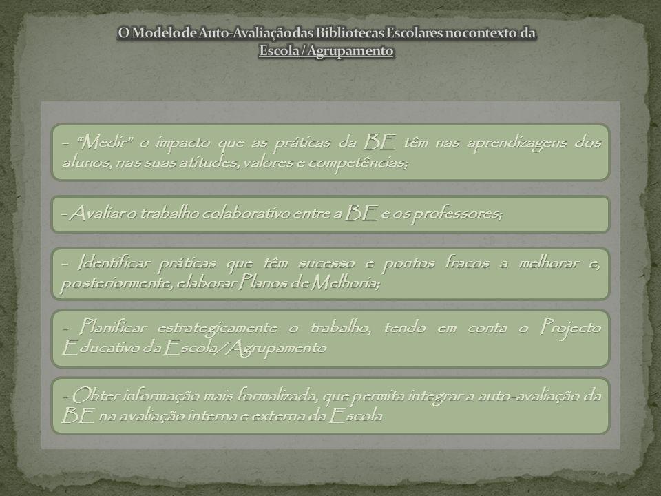 - Medir o impacto que as práticas da BE têm nas aprendizagens dos alunos, nas suas atitudes, valores e competências; - Avaliar o trabalho colaborativo entre a BE e os professores; - Identificar práticas que têm sucesso e pontos fracos a melhorar e, posteriormente, elaborar Planos de Melhoria; - Planificar estrategicamente o trabalho, tendo em conta o Projecto Educativo da Escola/Agrupamento - Obter informação mais formalizada, que permita integrar a auto-avaliação da BE na avaliação interna e externa da Escola