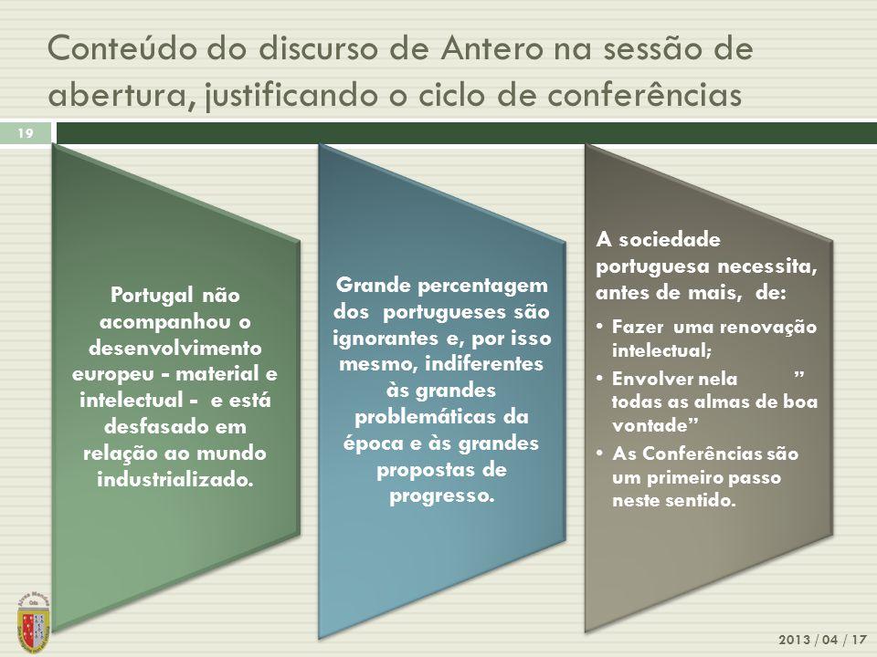 Conteúdo do discurso de Antero na sessão de abertura, justificando o ciclo de conferências 2013 / 04 / 17 19 Portugal não acompanhou o desenvolvimento europeu - material e intelectual - e está desfasado em relação ao mundo industrializado.