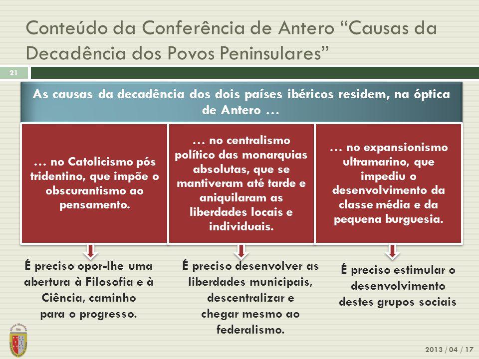 Conteúdo da Conferência de Antero Causas da Decadência dos Povos Peninsulares 2013 / 04 / 17 21 É preciso opor-lhe uma abertura à Filosofia e à Ciência, caminho para o progresso.