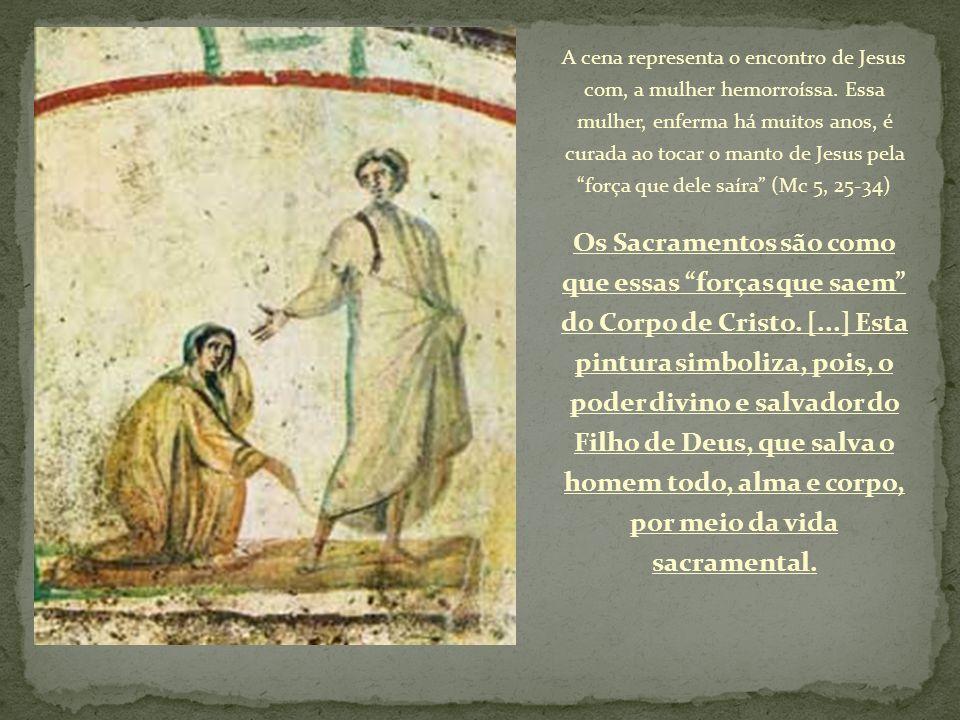 A cena representa o encontro de Jesus com, a mulher hemorroíssa. Essa mulher, enferma há muitos anos, é curada ao tocar o manto de Jesus pela força qu