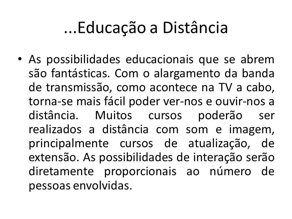 ...Educação a Distância As possibilidades educacionais que se abrem são fantásticas.