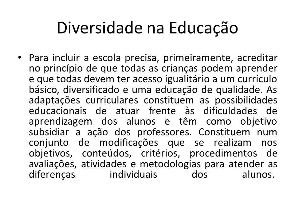 Diversidade na Educação Para incluir a escola precisa, primeiramente, acreditar no princípio de que todas as crianças podem aprender e que todas devem ter acesso igualitário a um currículo básico, diversificado e uma educação de qualidade.