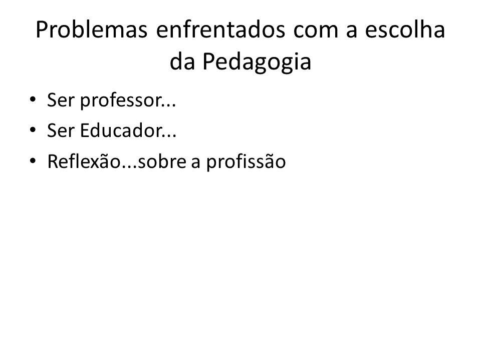 Problemas enfrentados com a escolha da Pedagogia Ser professor...