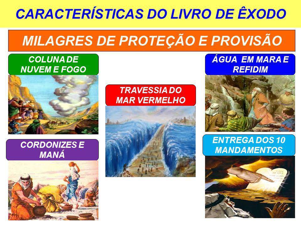CARACTERÍSTICAS DO LIVRO DE ÊXODO MILAGRES DE PROTEÇÃO E PROVISÃO COLUNA DE NUVEM E FOGO TRAVESSIA DO MAR VERMELHO ÁGUA EM MARA E REFIDIM CORDONIZES E MANÁ ENTREGA DOS 10 MANDAMENTOS
