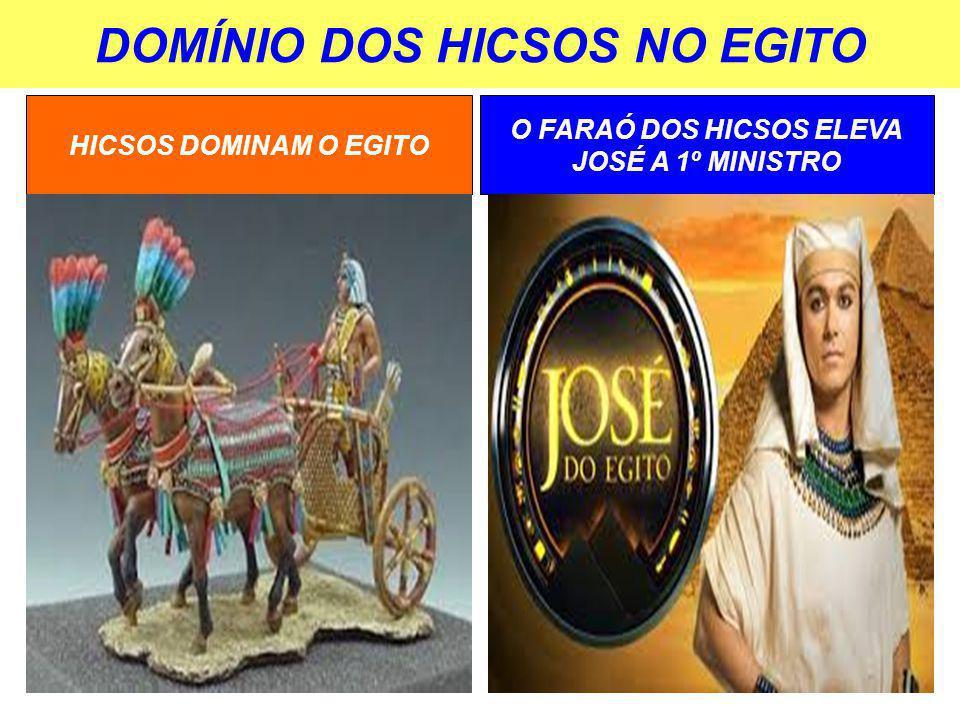 DOMÍNIO DOS HICSOS NO EGITO HICSOS DOMINAM O EGITO O FARAÓ DOS HICSOS ELEVA JOSÉ A 1º MINISTRO
