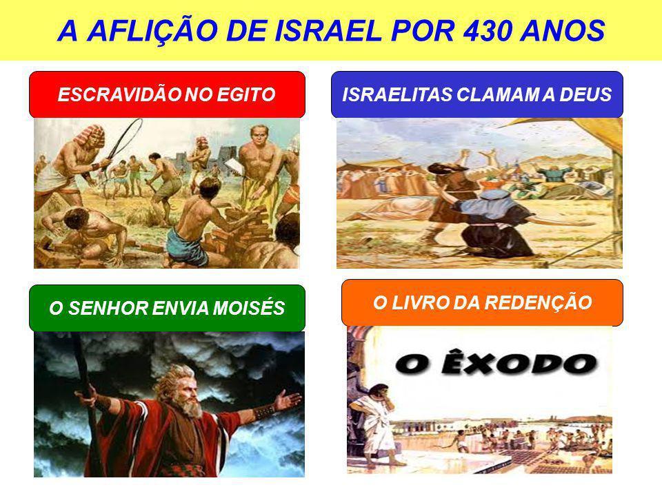 A AFLIÇÃO DE ISRAEL POR 430 ANOS ESCRAVIDÃO NO EGITO O SENHOR ENVIA MOISÉS O LIVRO DA REDENÇÃO ISRAELITAS CLAMAM A DEUS