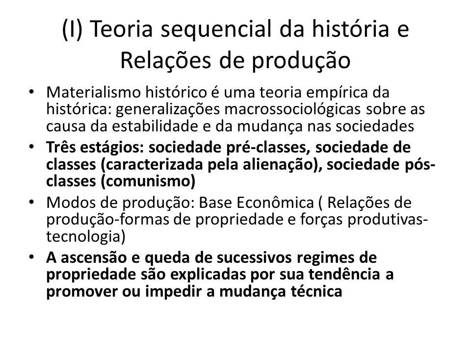 (I) Teoria sequencial da história e Relações de produção Materialismo histórico é uma teoria empírica da histórica: generalizações macrossociológicas