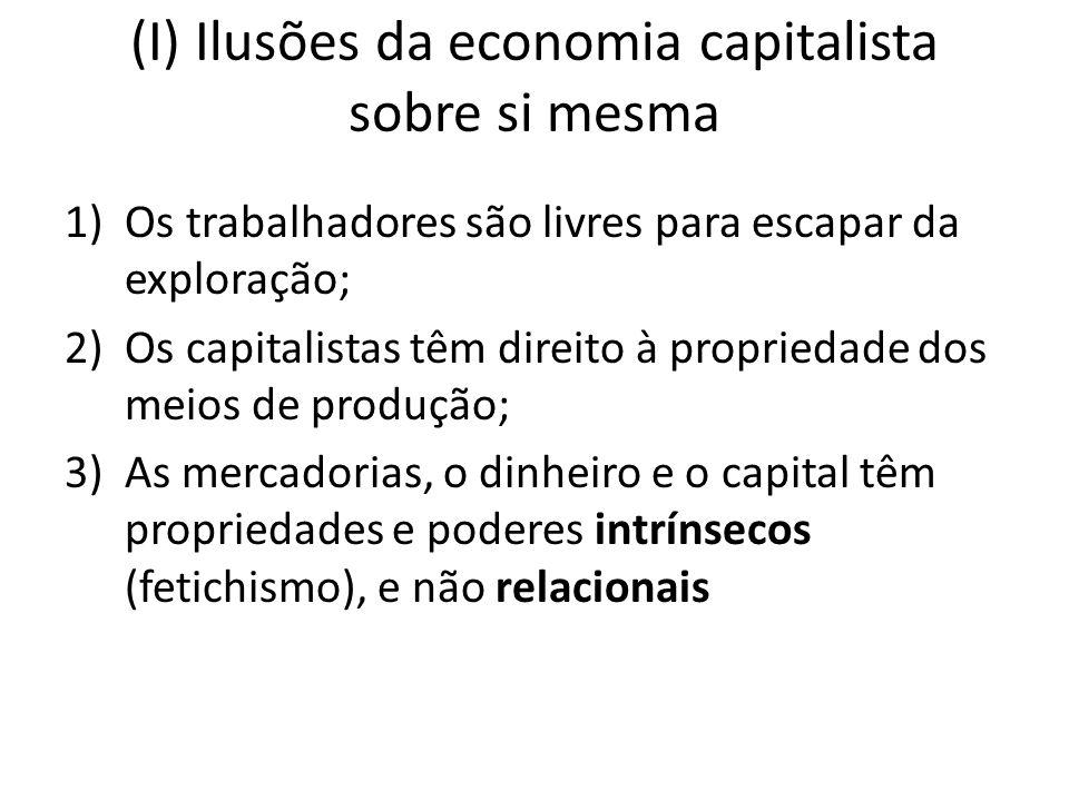 (I) Ilusões da economia capitalista sobre si mesma 1)Os trabalhadores são livres para escapar da exploração; 2)Os capitalistas têm direito à proprieda