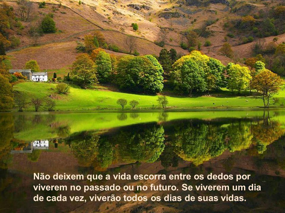 Texto Matriz Não deixem que a vida escorra entre os dedos por viverem no passado ou no futuro.