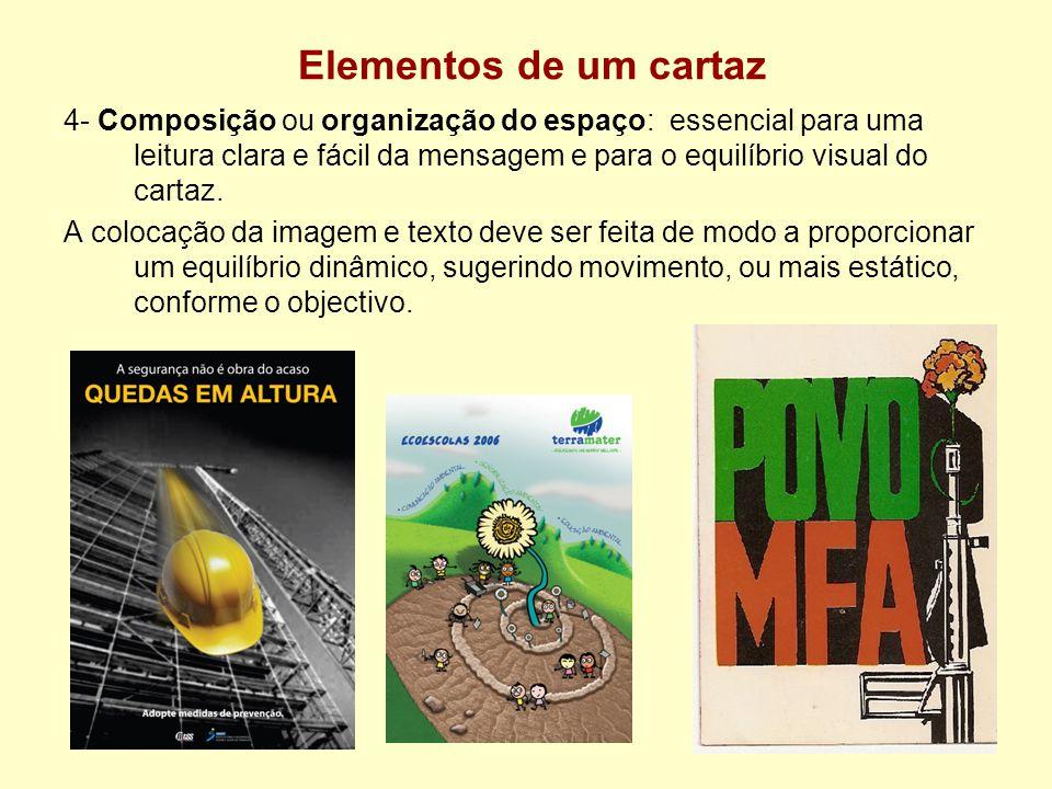 Elementos de um cartaz 4- Composição ou organização do espaço: essencial para uma leitura clara e fácil da mensagem e para o equilíbrio visual do cart