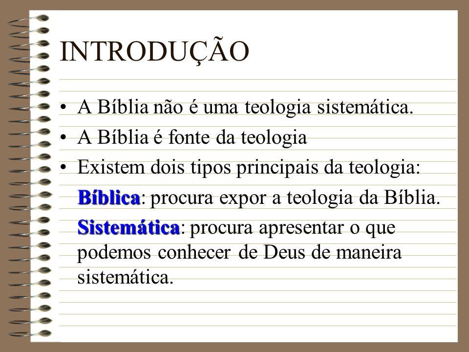 INTRODUÇÃO A Bíblia não é uma teologia sistemática. A Bíblia é fonte da teologia Existem dois tipos principais da teologia: Bíblica Bíblica: procura e