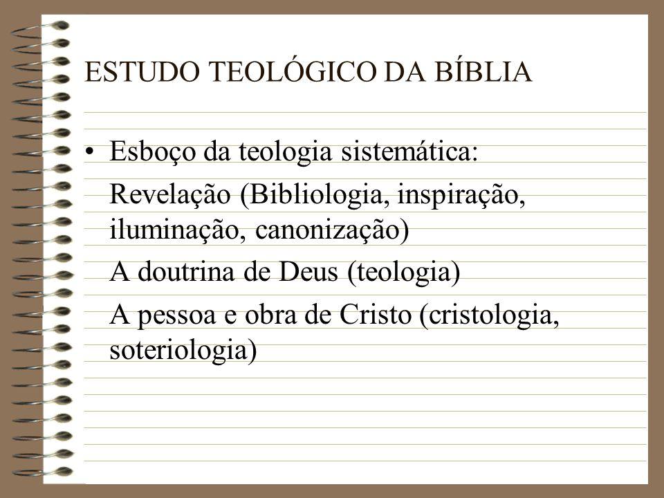 A doutrina do Espírito Santo (pneumatologia) A doutrina do homem (antropologia) A doutrina da igreja (eclesiologia) Missiologia Escatologia