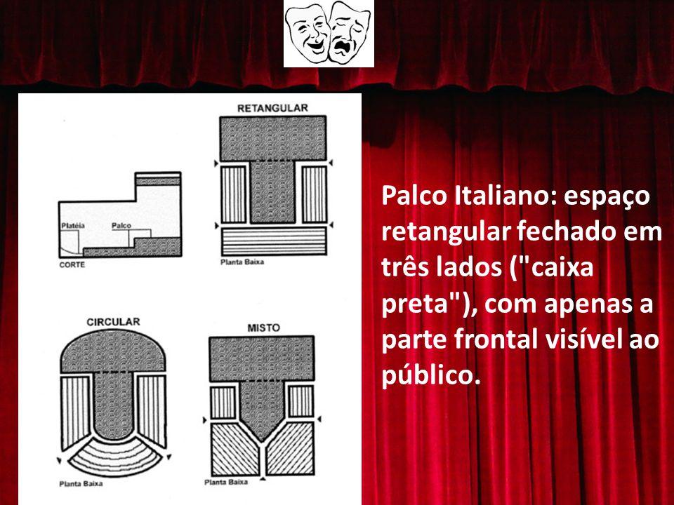 Palco Italiano: espaço retangular fechado em três lados ( caixa preta ), com apenas a parte frontal visível ao público.