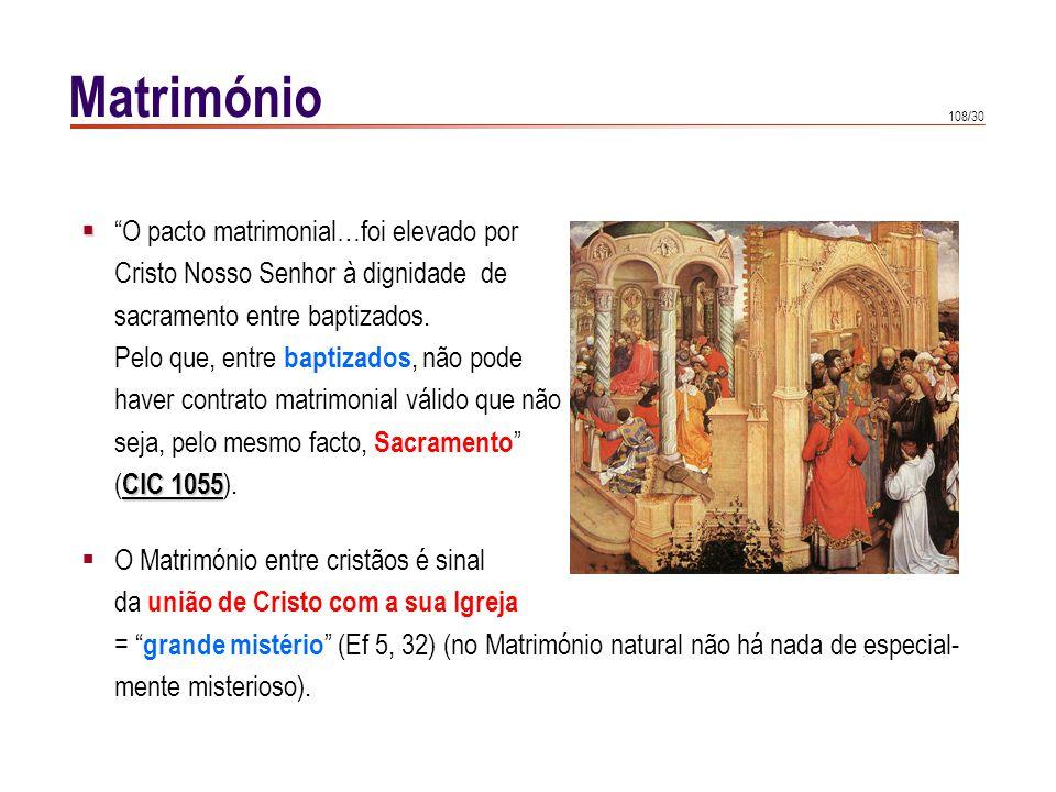 108/30 Matrimónio O pacto matrimonial…foi elevado por Cristo Nosso Senhor à dignidade de sacramento entre baptizados. Pelo que, entre baptizados, não