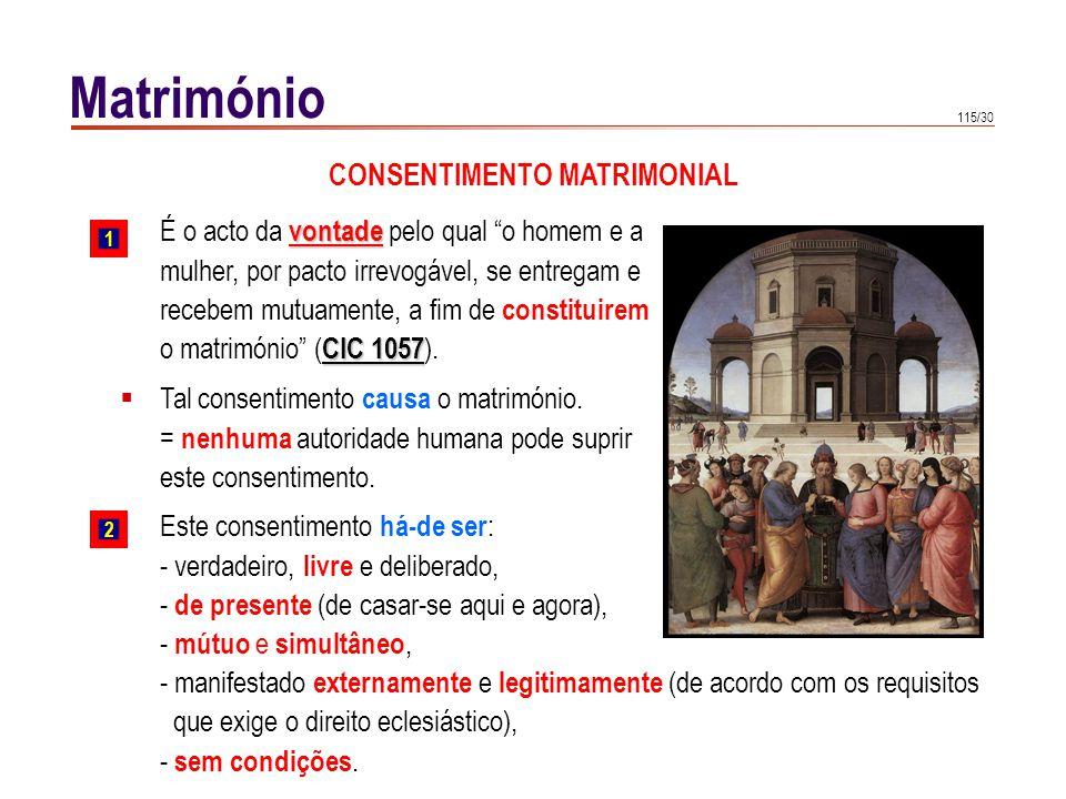 115/30 Matrimónio Tal consentimento causa o matrimónio. = nenhuma autoridade humana pode suprir este consentimento. vontade É o acto da vontade pelo q