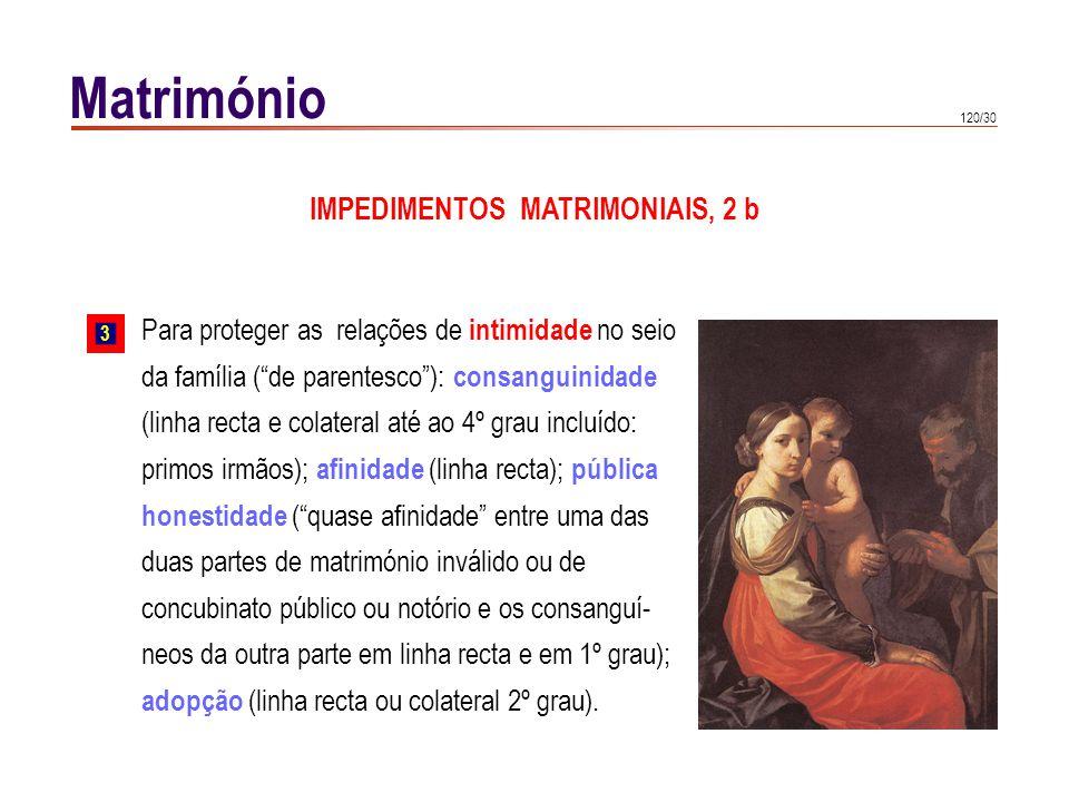 120/30 Matrimónio Para proteger as relações de intimidade no seio da família (de parentesco): consanguinidade (linha recta e colateral até ao 4º grau