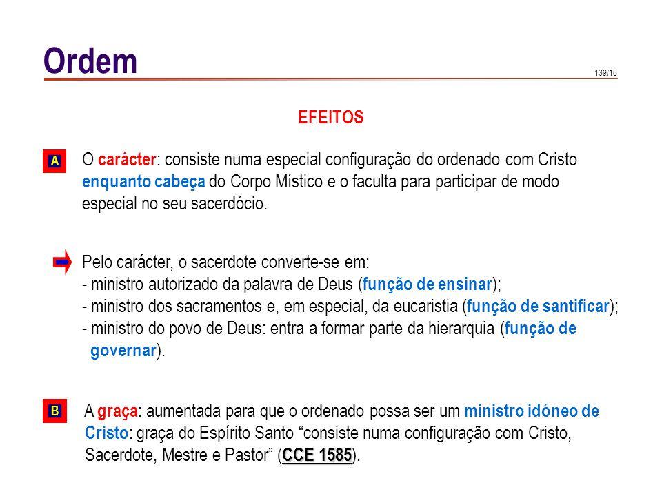 139/16 Ordem EFEITOS O carácter : consiste numa especial configuração do ordenado com Cristo enquanto cabeça do Corpo Místico e o faculta para partici