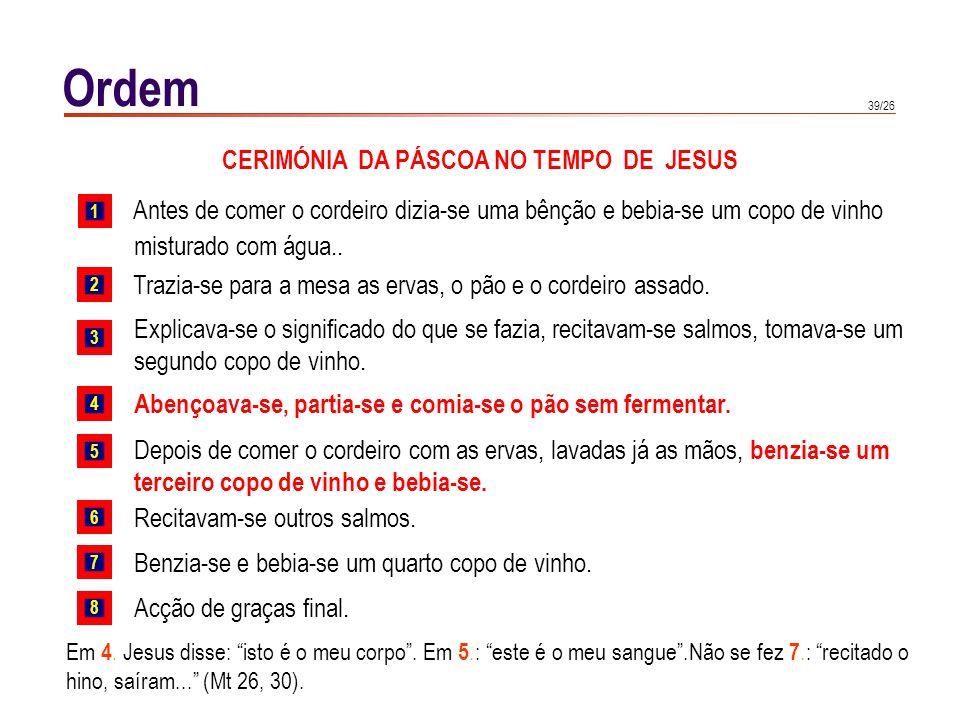 39/26 Ordem CERIMÓNIA DA PÁSCOA NO TEMPO DE JESUS Antes de comer o cordeiro dizia-se uma bênção e bebia-se um copo de vinho misturado com água.. Trazi