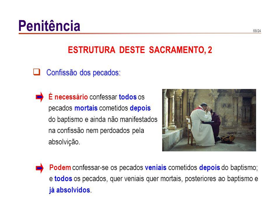 68/24 Confissão dos pecados: É necessário confessar todos os pecados mortais cometidos depois do baptismo e ainda não manifestados na confissão nem pe