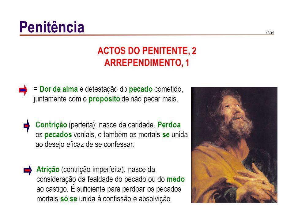 74/24 Penitência ACTOS DO PENITENTE, 2 ARREPENDIMENTO, 1 Contrição (perfeita): nasce da caridade. Perdoa os pecados veniais, e também os mortais se un