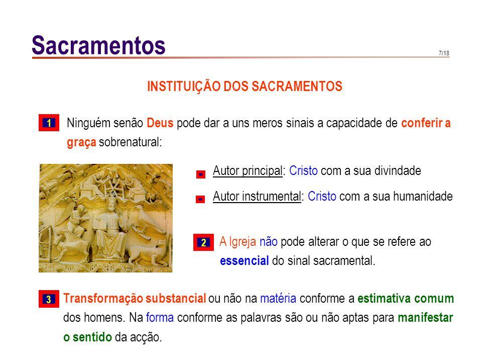7/18 Sacramentos INSTITUIÇÃO DOS SACRAMENTOS Ninguém senão Deus pode dar a uns meros sinais a capacidade de conferir a graça sobrenatural: Autor princ