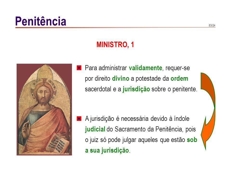 83/24 Penitência MINISTRO, 1 A jurisdição é necessária devido à índole judicial do Sacramento da Penitência, pois o juiz só pode julgar aqueles que es