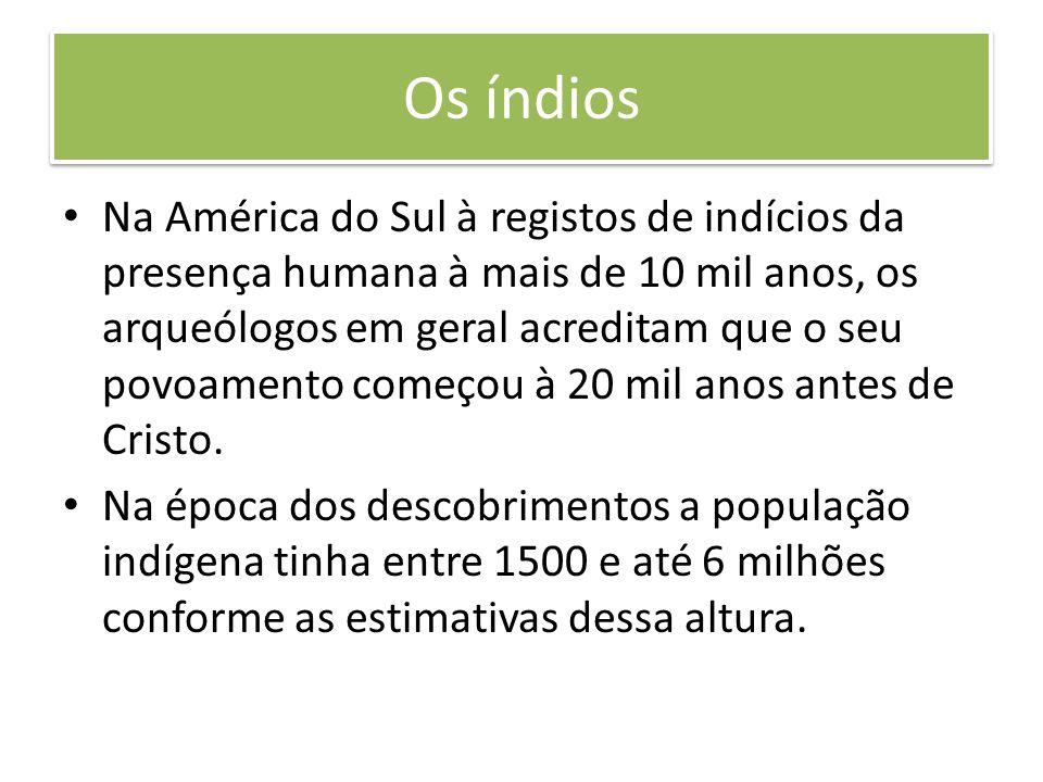 Os índios Na América do Sul à registos de indícios da presença humana à mais de 10 mil anos, os arqueólogos em geral acreditam que o seu povoamento co
